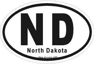 North Dakota Oval Car Sticker