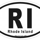 Rhode Island Oval Car Sticker