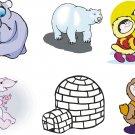 Polar Bears Cartoon Wall Decal Assortment Packs