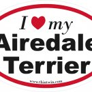 Airedale Terrier Oval Car Sticker