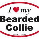Bearded Collie Oval Car Sticker