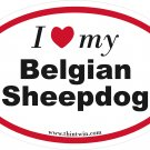 Belgian Sheepdog Oval Car Sticker