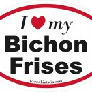 Bichon Frises Oval Car Sticker