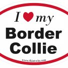Border Collie Oval Car Sticker