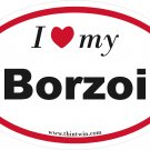 Borzoi Oval Car Sticker