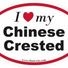 Chinese Crested Oval Car Sticker