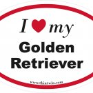 Golden Retriever Oval Car Sticker