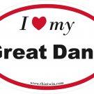 Great Dane Oval Car Sticker