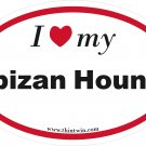Ibizan Hound Oval Car Sticker