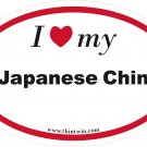 Japanese Chin Oval Car Sticker