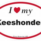 Keeshonden Oval Car Sticker