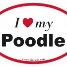 Poodle Oval Car Sticker