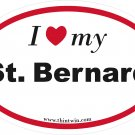 Saint Bernard Oval Car Sticker