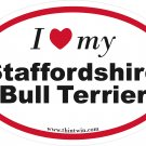 Staffordshire Bull Terrier Oval Car Sticker