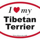 Tibetan Terrier Oval Car Sticker