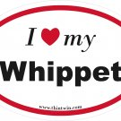 Whippet Oval Car Sticker