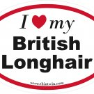 British Longhair Oval Car Sticker