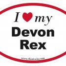 Devon Rex Oval Car Sticker