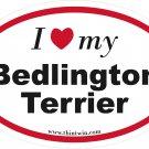 Bedlington Terrier Oval Car Sticker