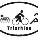 Triathlon Pictorial Oval Car Sticker