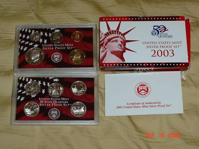 United States Mint 2003 Silver Proof Coin Set.
