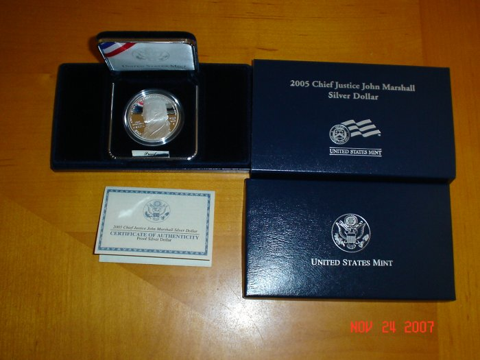 2005 United States Mint Chief Justice John Marshall Proof Silver Dollar