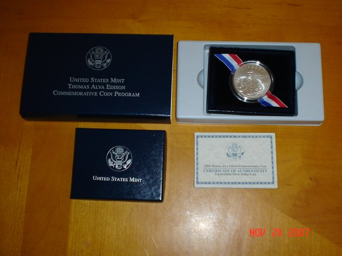 2004 United States Mint Thomas Alva Edison Commemorative Uncirculated Silver Dollar Coin