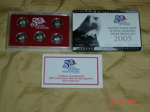 United States Mint 2005 Silver Proof  Quarter Coin Set.