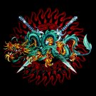 DRAGON - TWIN SWORD TATTOO TEE T SHIRT BLACK Size L / D33