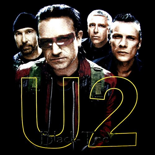 U2 BLACK ROCK TEE BONO T SHIRT BAND SIZE S / D89