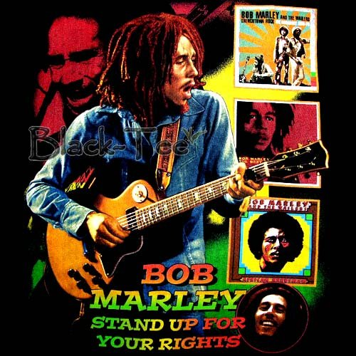 BOB MARLEY BLACK REGGAE TEE T SHIRT JAMAICA Sz. L / E67