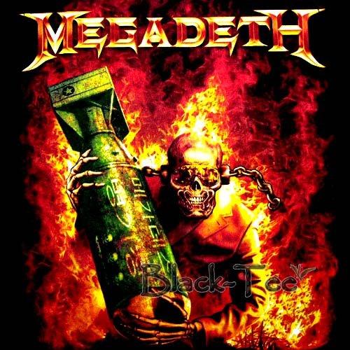 MEGADETH HEAVY METAL TEE T SHIRT FIRE SIZE L / F21