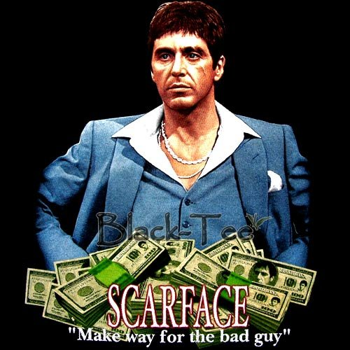SCARFACE BLACK PACINO TEE T SHIRT MONEY SIZE S / F26