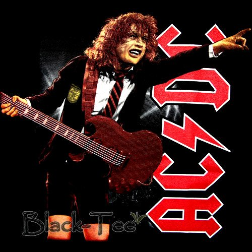 AC/DC BLACK HARD ROCK TEE T SHIRT CONCERT SIZE L / F37