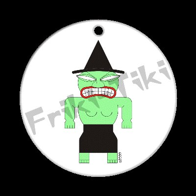FRIKI-TIKI   Witch-Tiki   Porcelain Christmas Ornament - NEW Collectible
