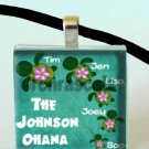 Glass Tile Pendant - Honu Ohana Sea Turtle Family Customizable