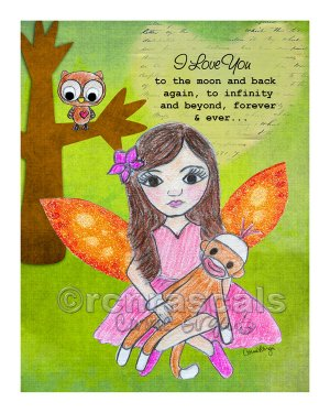 Forest Fairy and Sock Monkey 8 x 10 Print