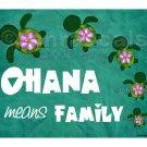 Honu Ohana Aloha or Ohana means Family 5x5 or 7x5 Art Print
