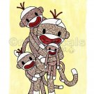 ART PRINT 8x10 Sock Monkey Family - your choice of up to 5 kids