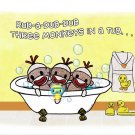 ART PRINT 7x5 Rub A Dub Dub Sock Monkeys in a Tub (Personalization also available)
