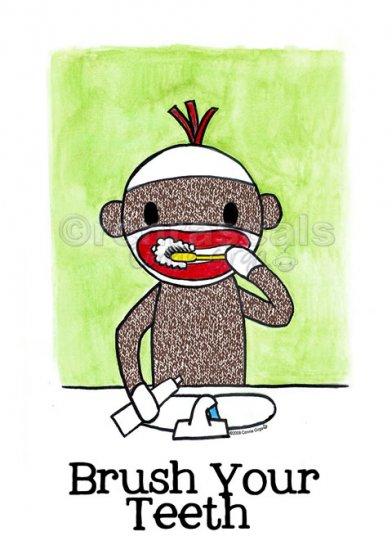 BRUSH YOUR TEETH Sock Monkey Bath Room Reminders 4 x 6 print