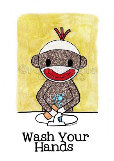 WASH YOUR HANDS Sock Monkey Bath Room Reminders 4 x 6 print