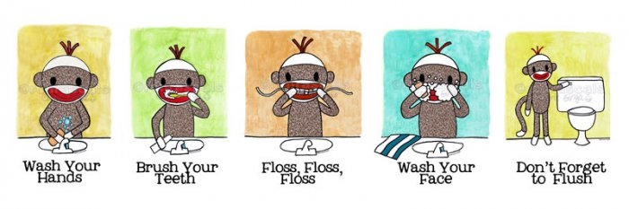 Sock Monkey Bath Room Reminders 18 x 6 Panel print (all 5)