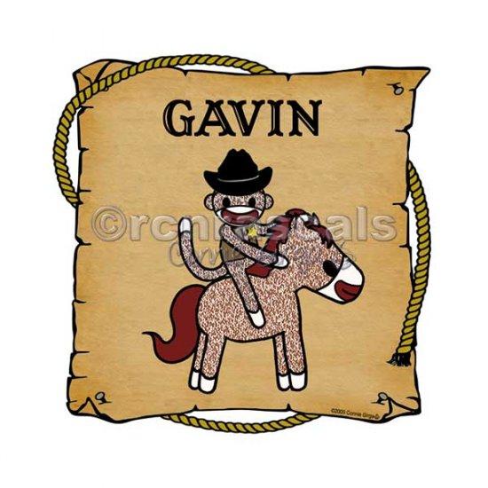 ART PRINT 8 x 8 Cowboy Sock Monkey and Horse