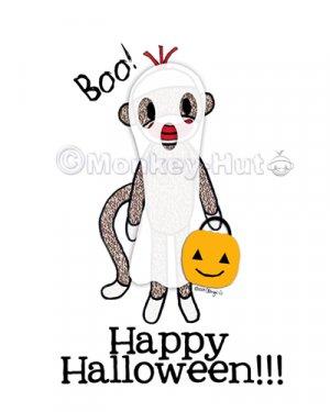 Sock Monkey Halloween Ghost 8 x 10 Print