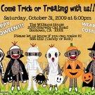 Sock Monkey Halloween Greeting or Invitation Card Design