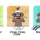 3-4x6&#39;s and 1-8x10 - combined shipping - Sock Monkey Bathroom Series