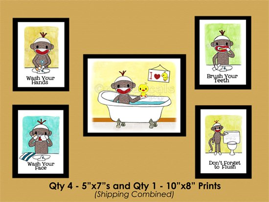 4-5x7's and 1-8x10 - combined shipping Sock Monkey Bathroom Series