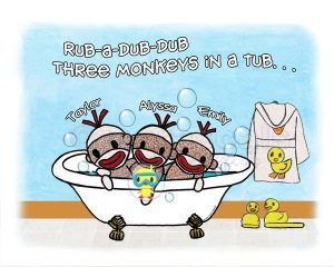 Sock Monkeys in a Tub - Rub A Dub Dub ART PRINT 10x8 (Personalized with your children's names)