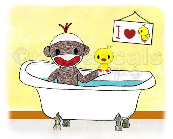Sock Monkey and Duckie Bath tub 5 x 7 ART PRINT (available in different wall backgrounds)
